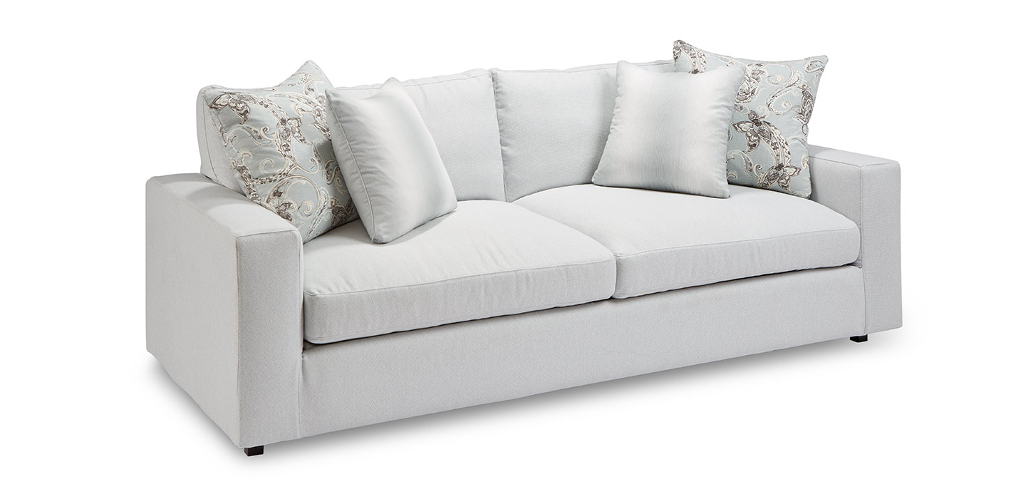 Two seat sofa in gray upholstery; sofa buying guide MGSD
