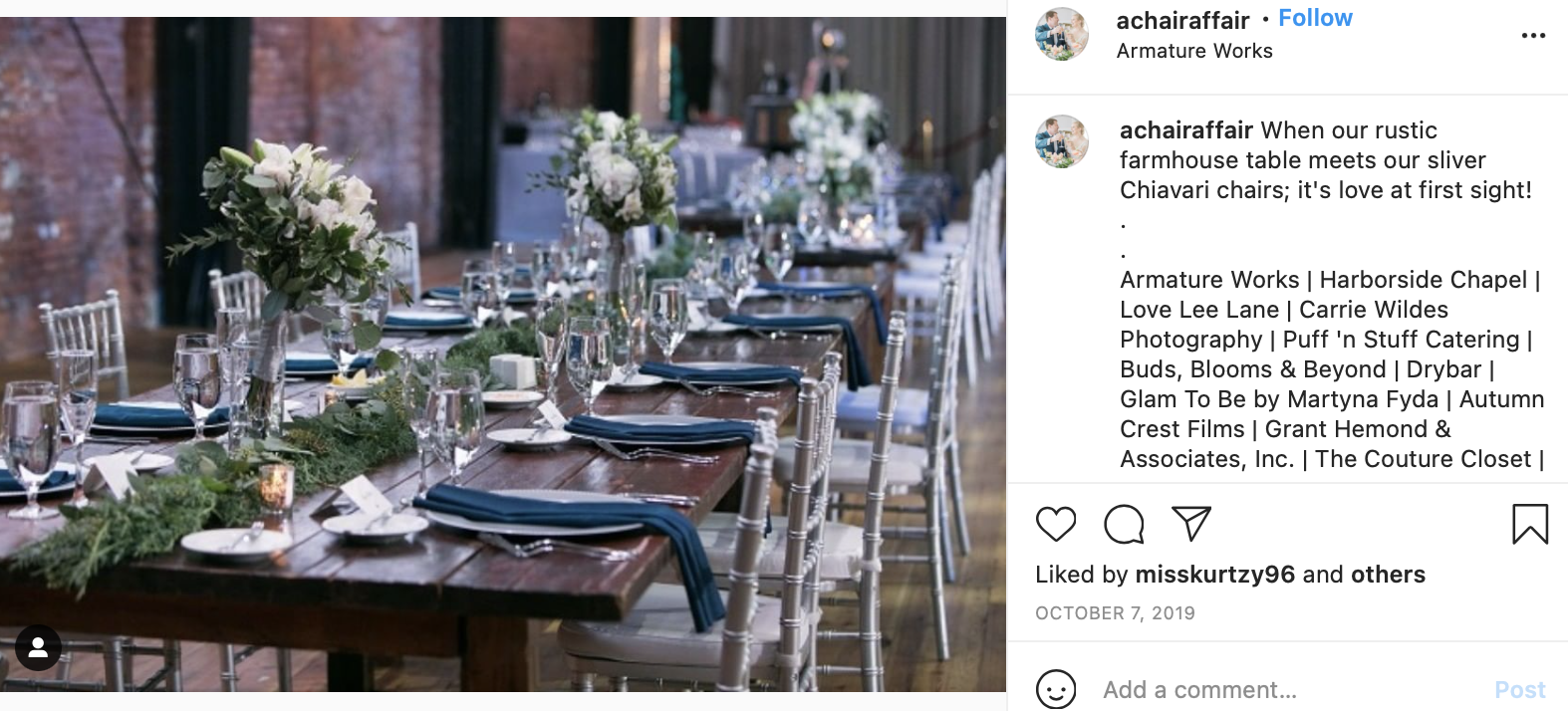 gray, silver, and navy blue wedding head table