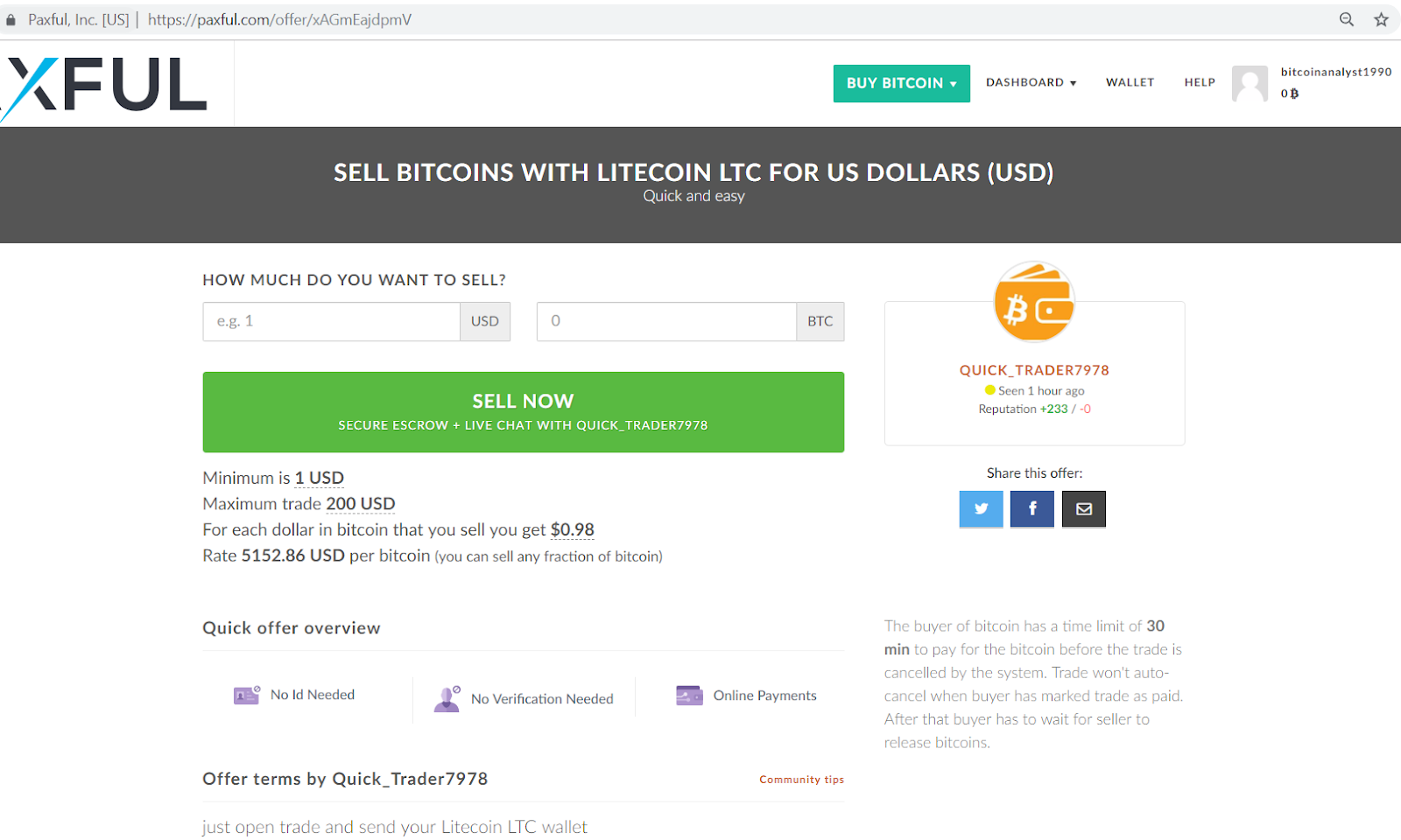 Paxful sell bitcoins with Litecoin LTC for US dollars page.