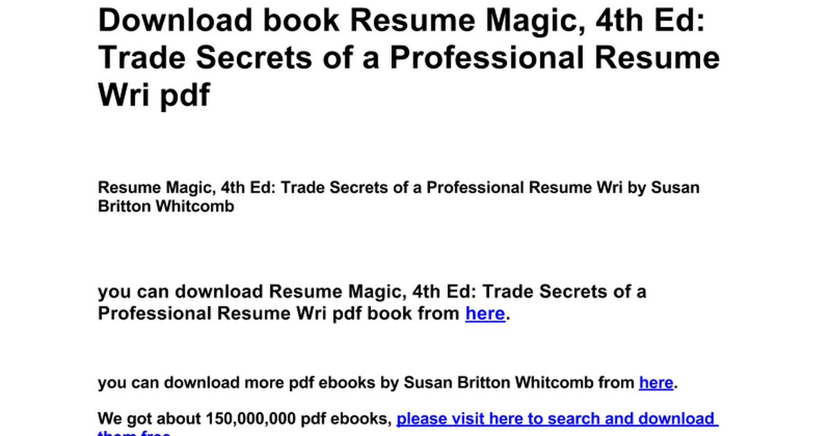 Generous Resume Magic 4th Edition Pdf Download Gallery - Example ...
