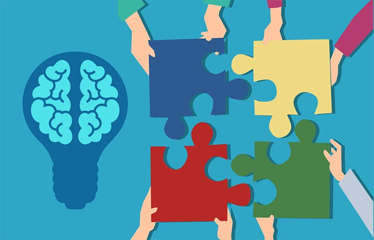 imagem de quebra-cabeça com uma lâmpada de cérebro ao lado