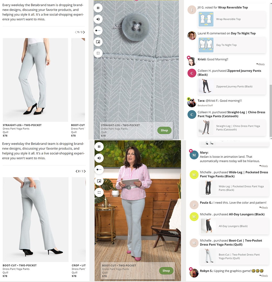 screenshot of an ecommerce fashion site; livestreaming eCommerce concept