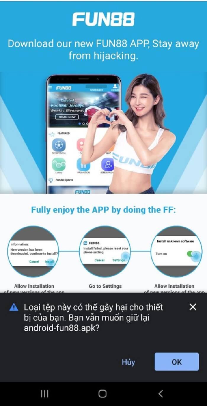 Tải ứng dụng Fun88 về điện thoại Android