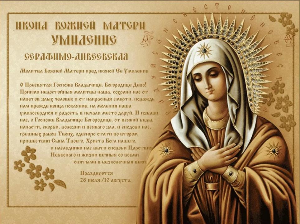 молитва иконе матери божией умиление серафима дивеевской