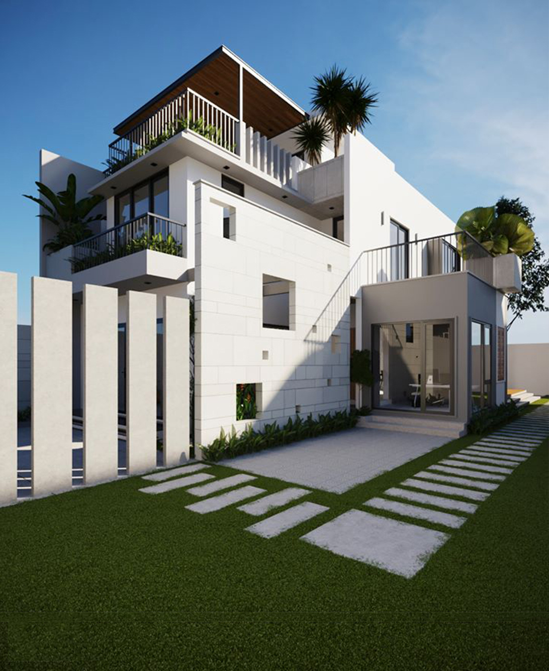 thiết kế nhà 2 tầng 5x20m có gara