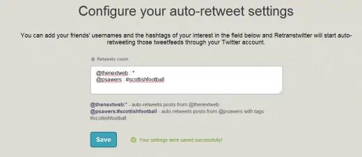 configure your auto-retweet settings - auto retweet tools - TweetJumbo.com- twitter automation bot tool