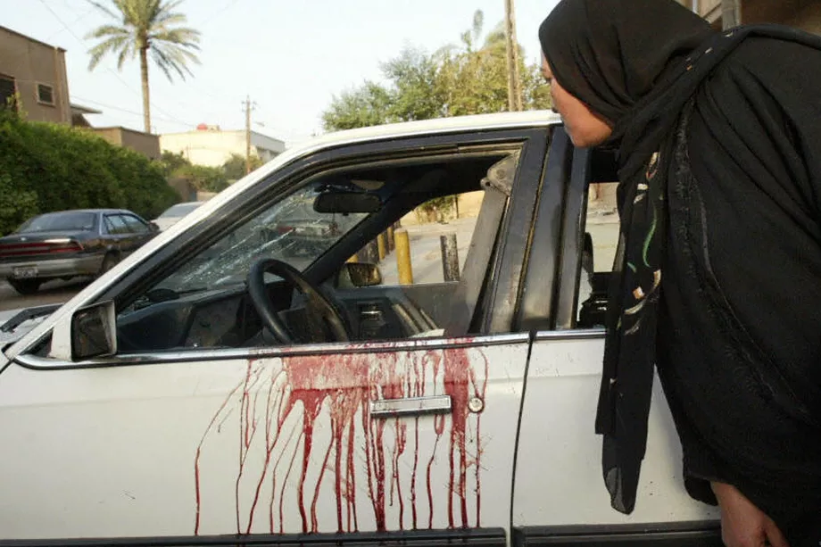 Damaged and bloodied car in Nissour Square, Iraq, 2007 after the Blackwater massacre