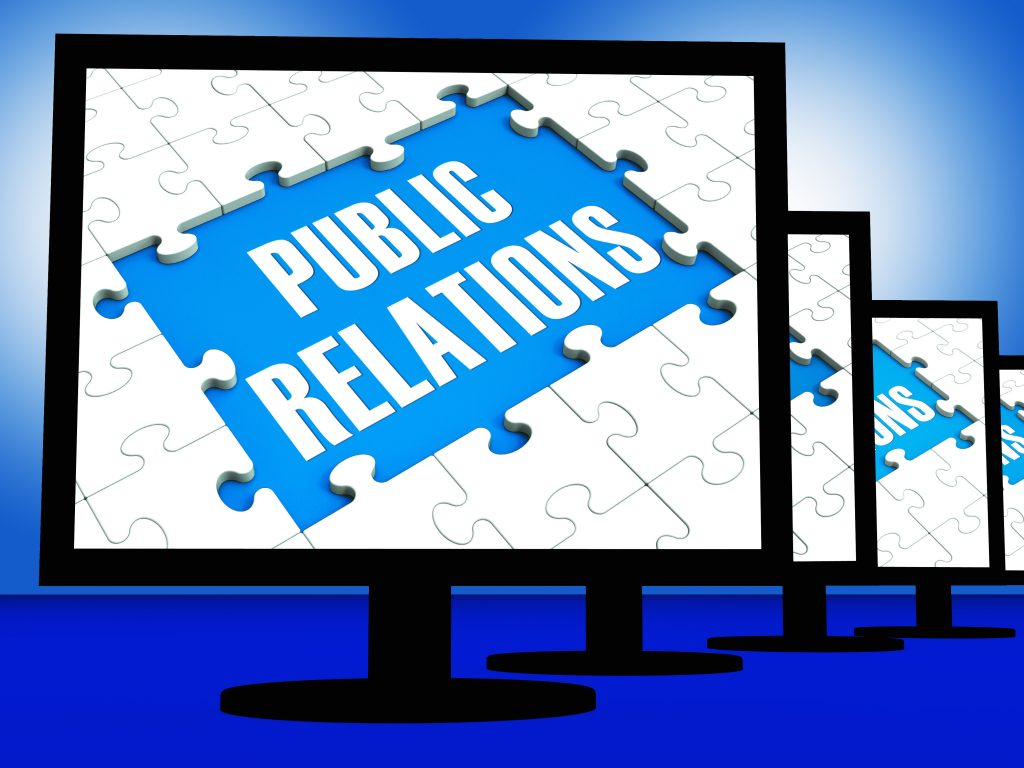 public relations written on a screen as a possible method for blog promotion