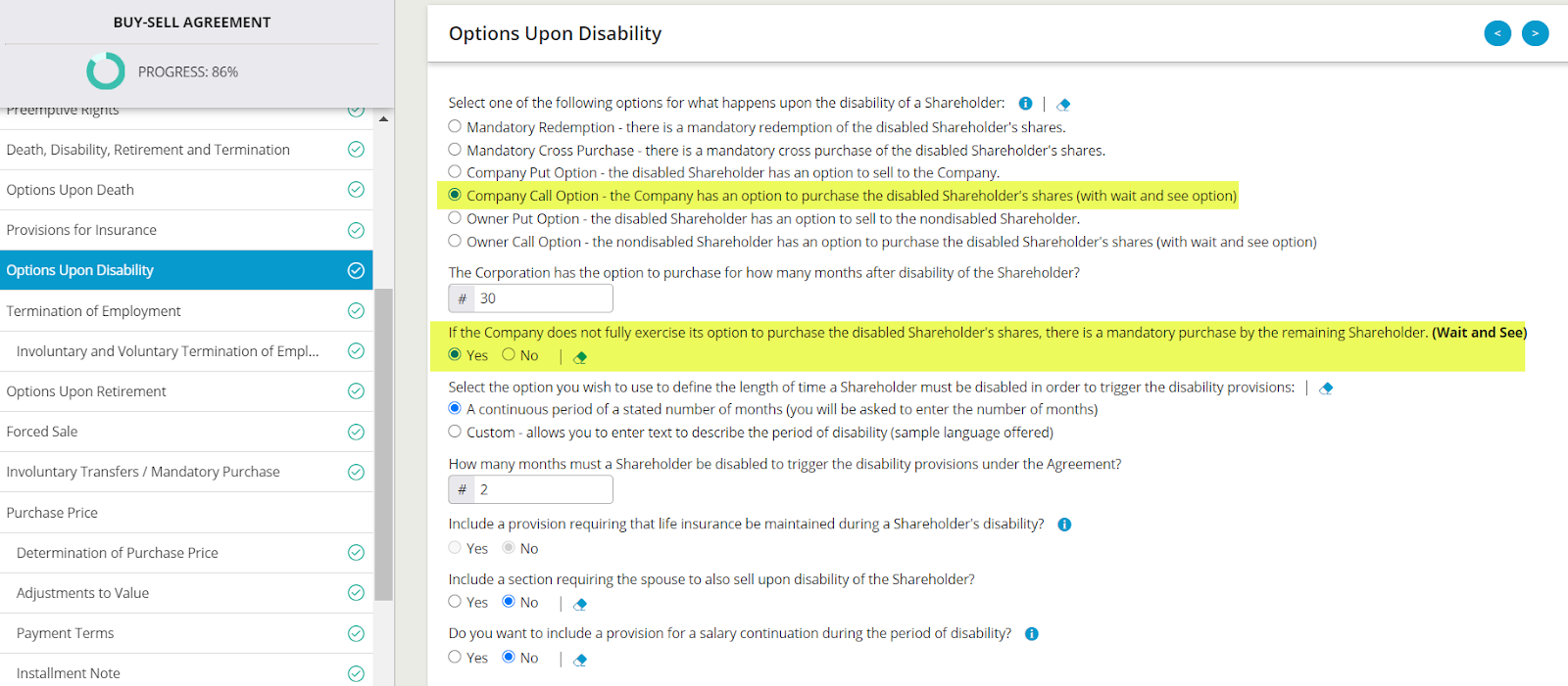 Above is a screenshot of disability options within Business Docx.