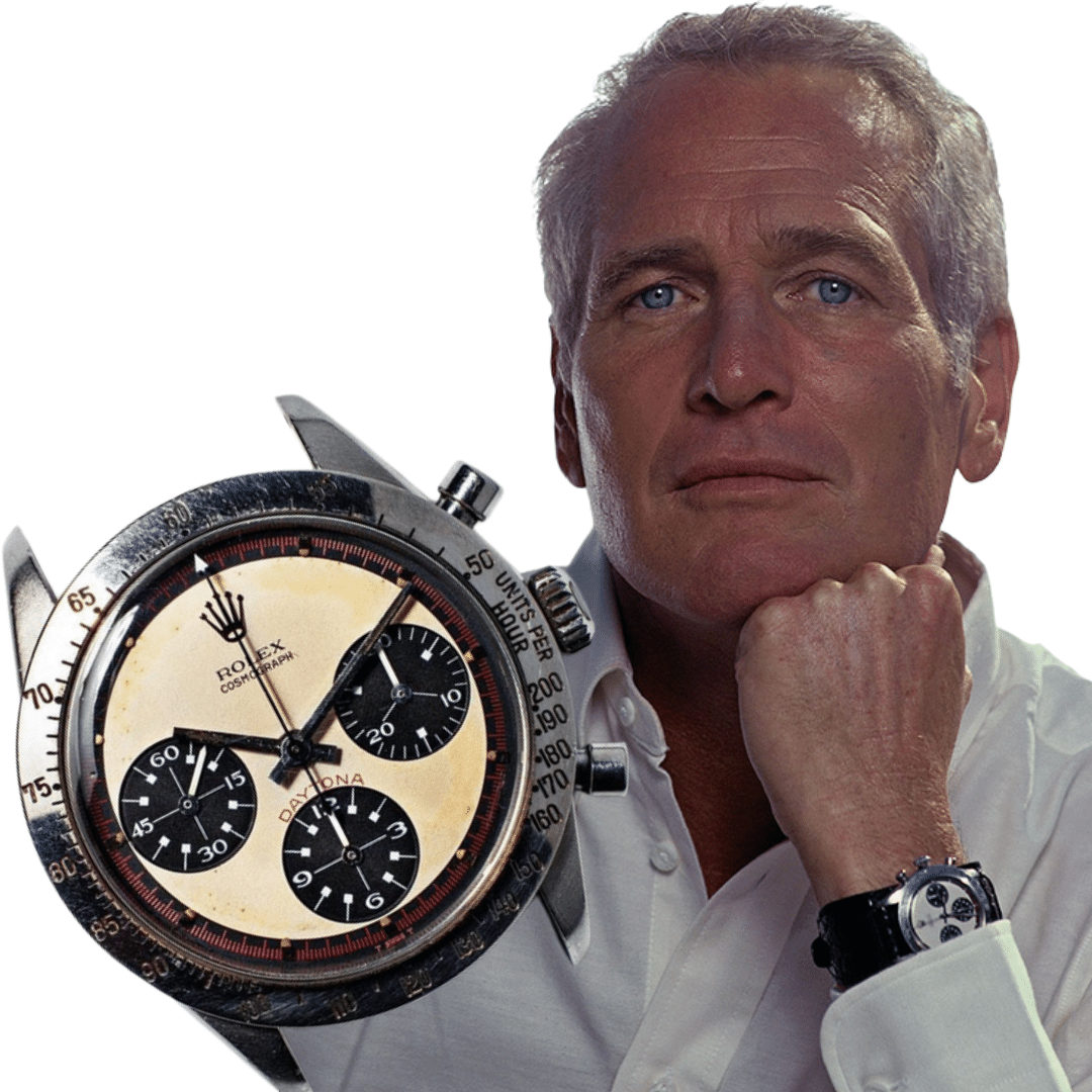 Photo of Paul Newman's Rolex Daytona watch, and a photo of Paul Newman