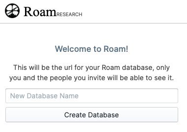Roam welcome message