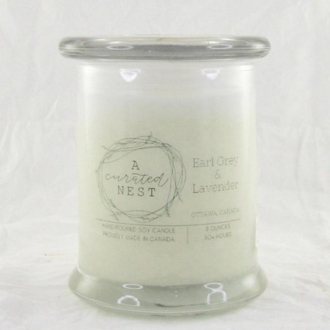 Candle - Canadian Soy Candle - Glass Jar with Lid - Earl Grey and Lavender