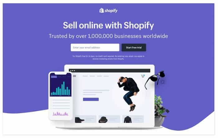 Shopify là một ví dụ điển hình về một trang web loại bỏ điều hướng để tăng chuyển đổi trang đích