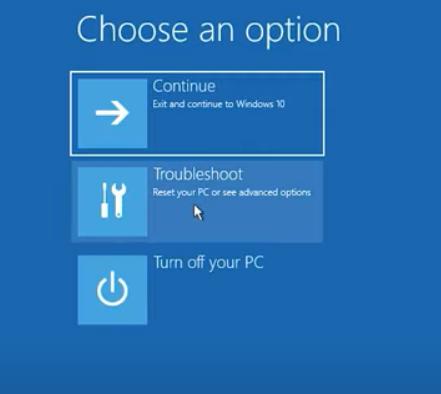 click on Troubleshoot option