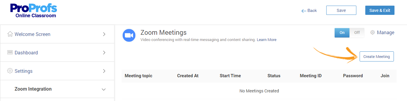 Create new Zoom meetings from training software
