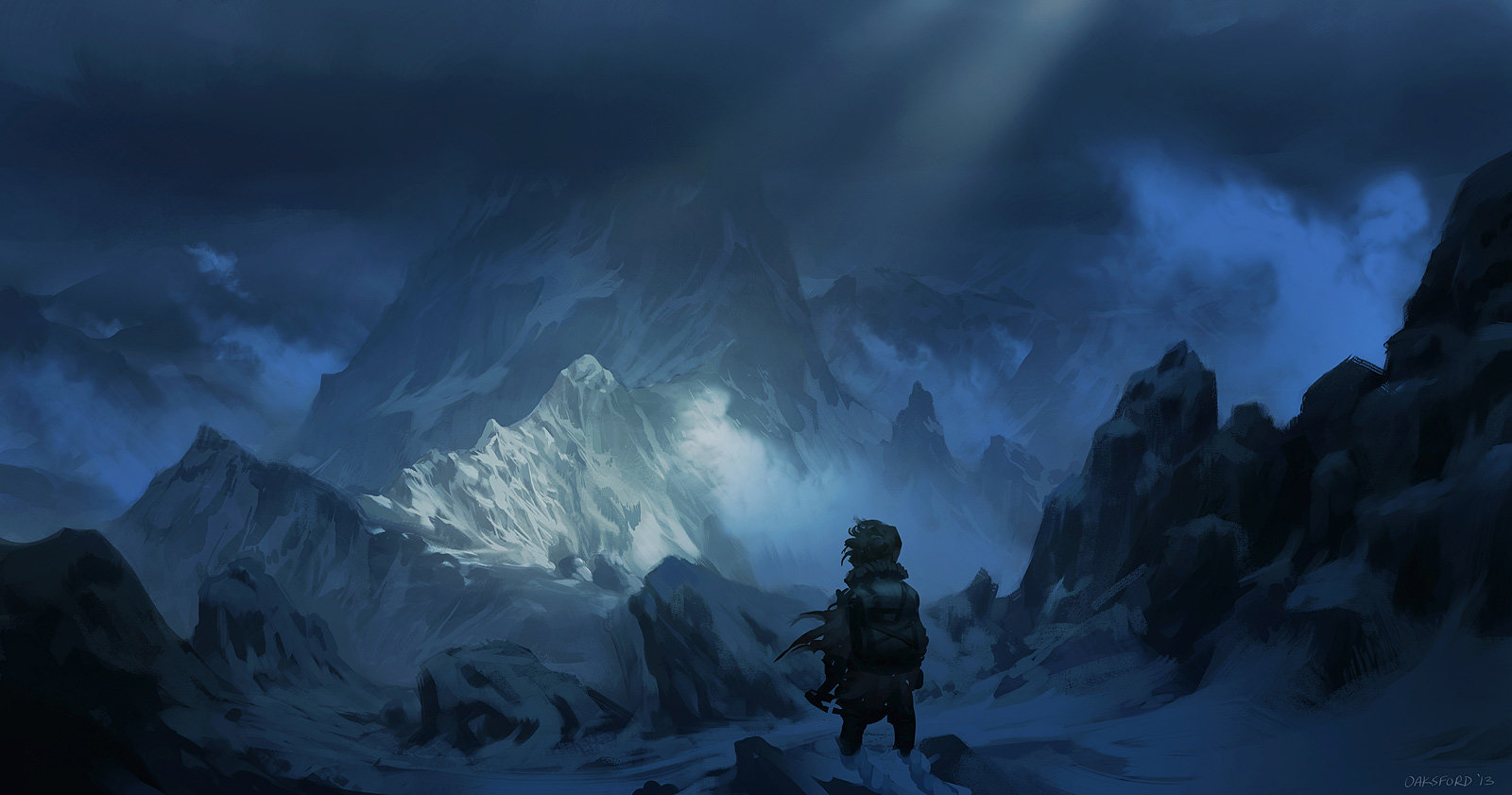 Fantasy Wallpaper - Misty Mountains by Justin Oaksford