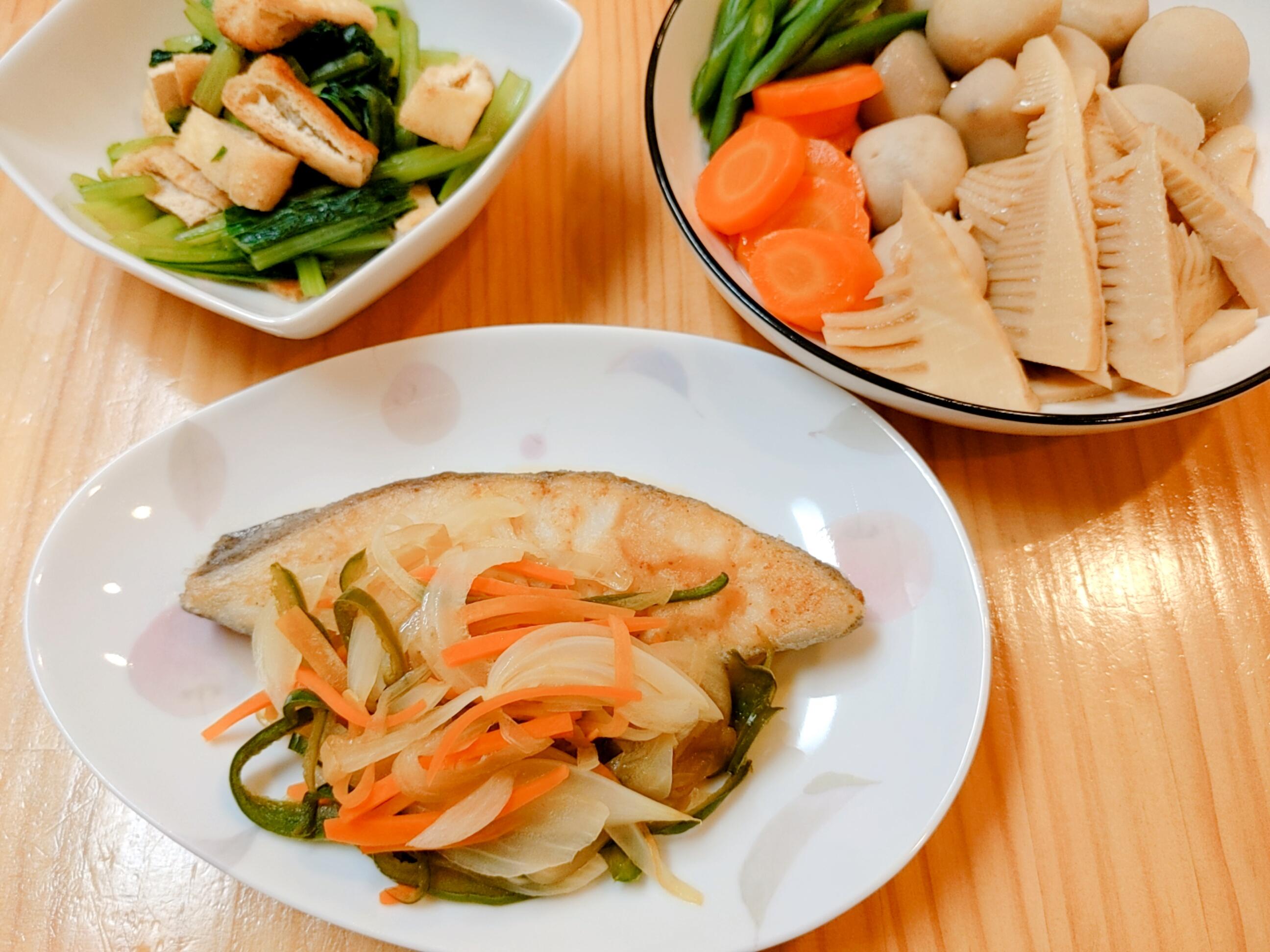 浜松の食材宅配サービスならサンクック *ママレポ* お魚、煮物、おひたし。サンクックで、The・和食も手間なく調理できました。