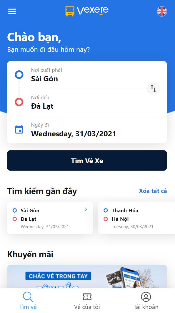 Chọn điểm đi/ điểm đến là Sài Gòn - Đà Lạt.