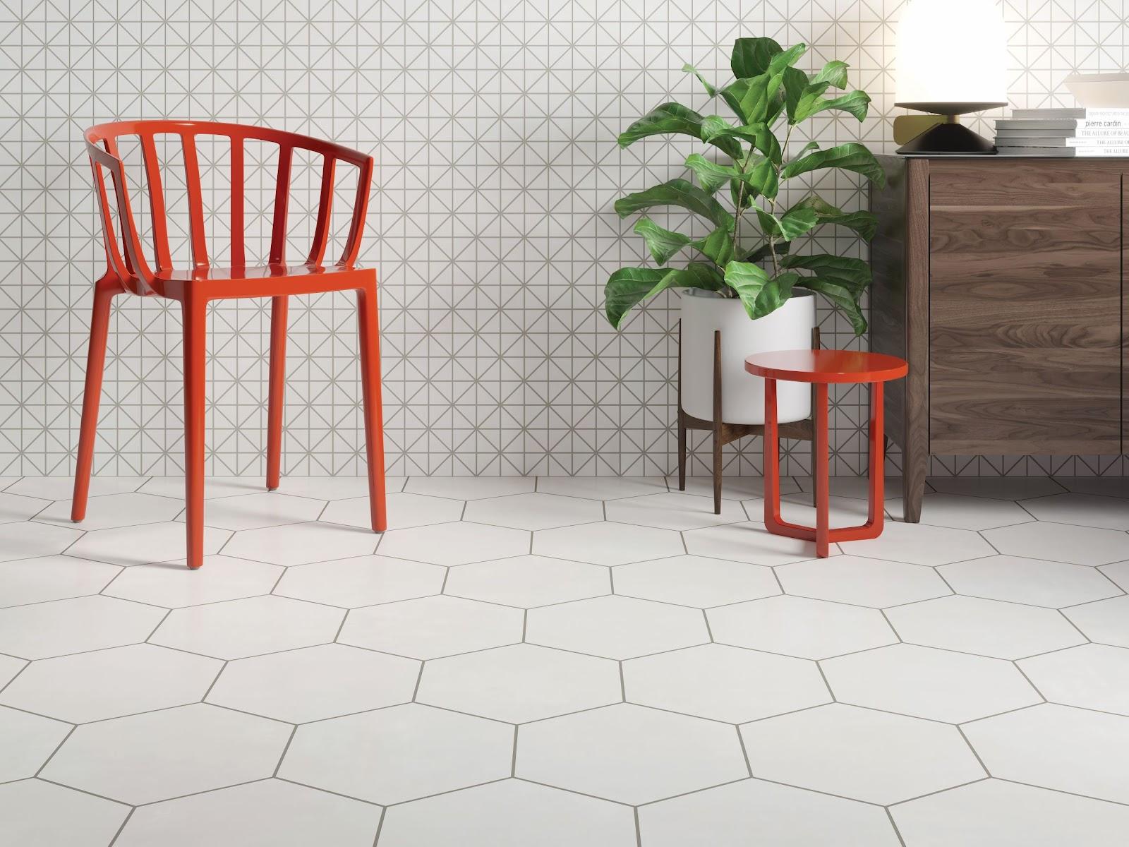 Large white hexagon tile flooring