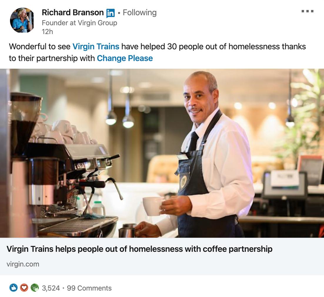 Richard Branson LinkedIn post