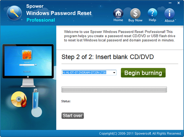 choose cd/dvd name and click begin burning