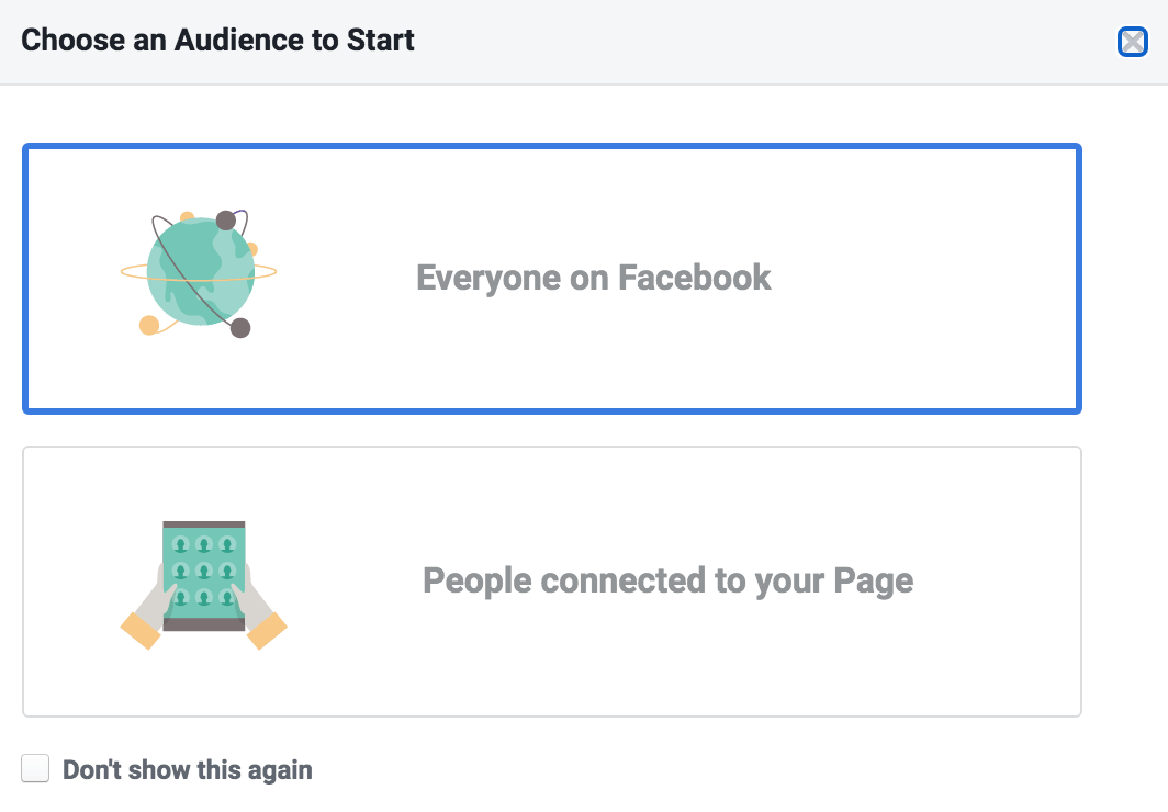 Choosing audience for Facebook audience insights