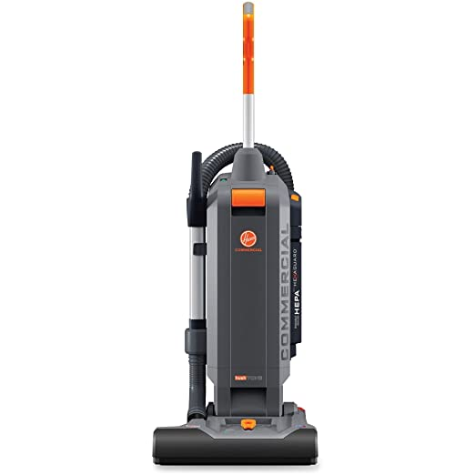 Hoover Commercial Upright Vacuum Cleaner CH54115 HushTone 15 Inches with Intellibelt Gray