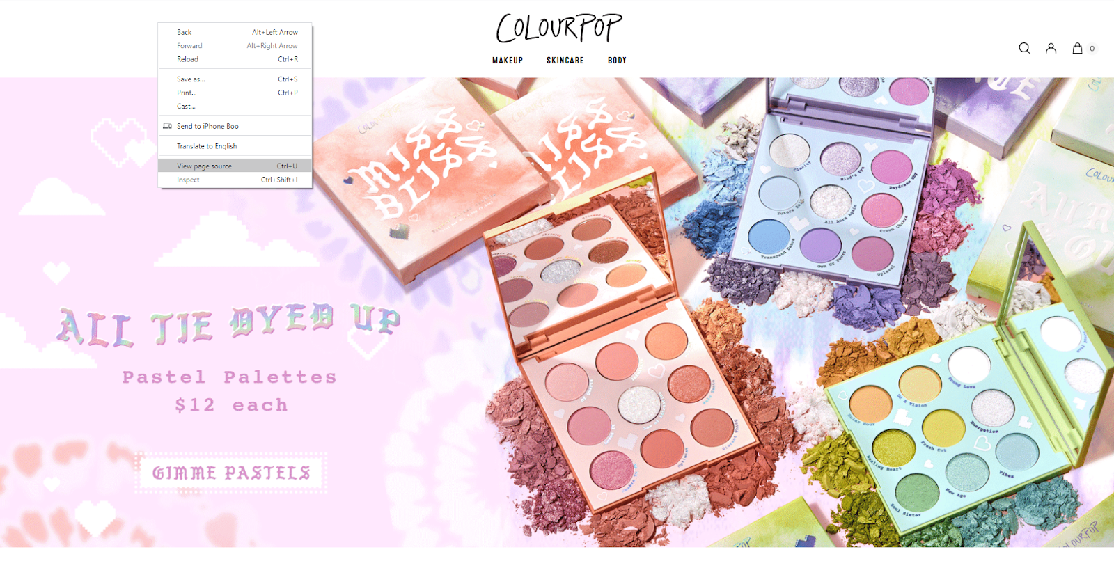 Shopify theme detector: Colourpop Homepage