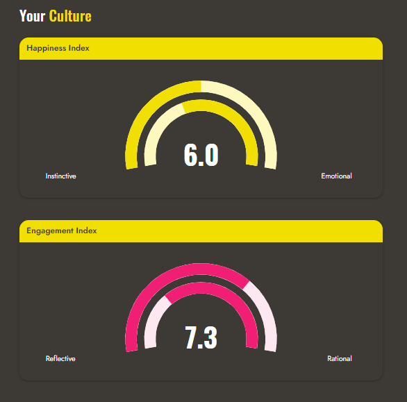 screen shot from our tool showing happiness and employee engagement