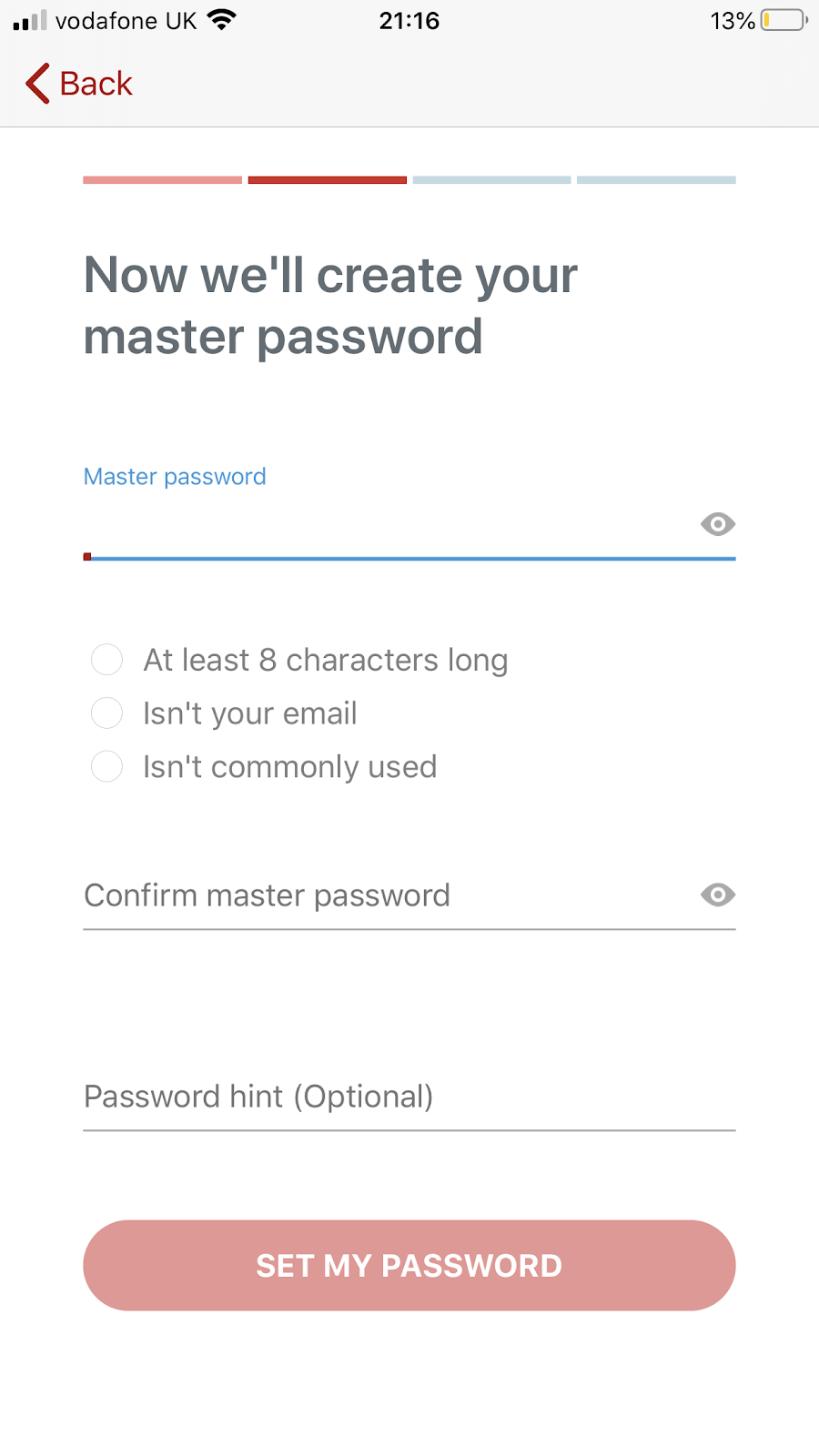How to create a master password in LastPass password manager app in iPhone. Part of the article by Hana Clode Marketing 'LastPass Password Manager - Apps to Make Your Life Easier'.