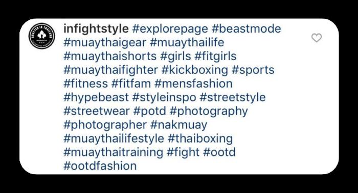 Screenshot of sports hashtags