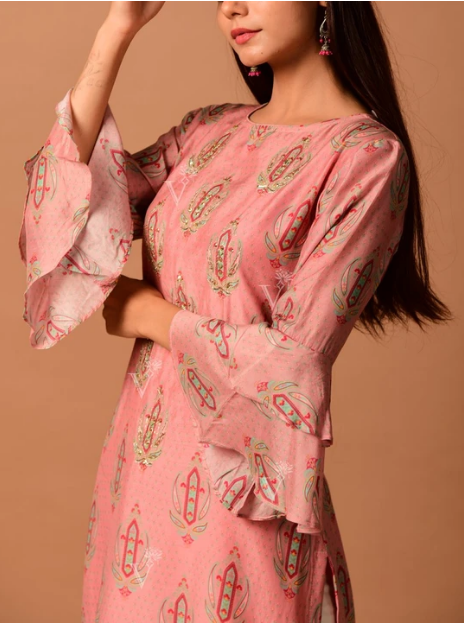 Peach Cotton Silk Kurti online
