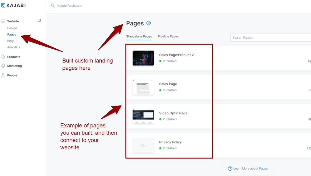 How to create website pages in Kajabi